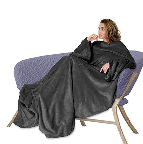 Osaloe Manta de Terciopelo Suave de 200 x 180 CM, Batamanta de Franela con Bolsillo, Manta para Cama y Sofá, Color Negro