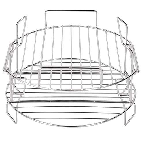 Sduck Dehydrator Rack Stand Accessories Compatible Cook & Crisp Basket Insert for Ninja Foodi, Deluxe Reversible Rack 2 pieces, Stainless Steel