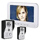 YUEC Intercomunicador de Video Timbre, 7 Pulgadas LCD videoportero intercomunicador 2 cámaras 1 Canal Vigilancia de...