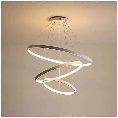 72W Lampadario a LED circolare moderno Lampada a sospensione regolabile Illuminazione a soffitto coperta 3-Design ad anello in lega di alluminio Lampada a sospensione Dimmer continuo 3000-6500k,Bianca
