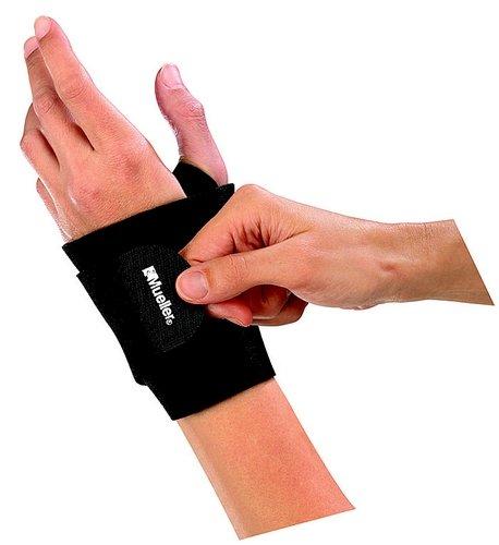 Mueller Wrist Support Wrap, Black, One Size