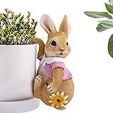 JelyArt Escultura Miniatura al Aire Libre jardín Estatua, Resina artesanías Conejo jardín Adornos Colgantes decoración (Rosa)