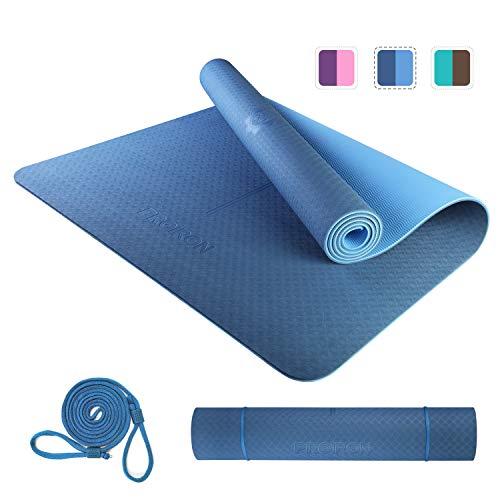 PROIRON Esterilla Yoga, Yoga Mat Grande, Colchoneta Yoga 80cm Ancho, Esterilla Yoga Antideslizante TPE Estera de Yoga Extra Suave con Double Capas Azul 1830×800×6mm
