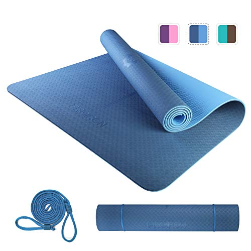 PROIRON Yoga Mat Colchoneta Esterilla Yoga Antideslizante TPE Estera de Yoga Extra Suave con Double Capas Azul 1830×800×6mm