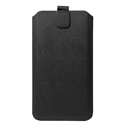 """Schützende Handytasche -Sleeve mit Magnetverschluss, 6.5\"""", Schwarz (geeignet für Samsung, Apple, Huawei, Sony, LG, Nokia, etc.)"""