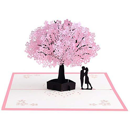 Tafeiya 3D Mother's Day Card, Pop Up Card with Envelope Cherry Blossom Card, Springtime Card, Anniversary, Graduation Card, Romance Card,Wedding Card