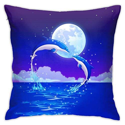 SHENGANG Kissenbezüge-Dolphins Lover Moon Dekorative Kissenbezüge, quadratischer versteckter Reißverschluss Home Cushion Pilloase für Sofa, Couch, Bett und Auto