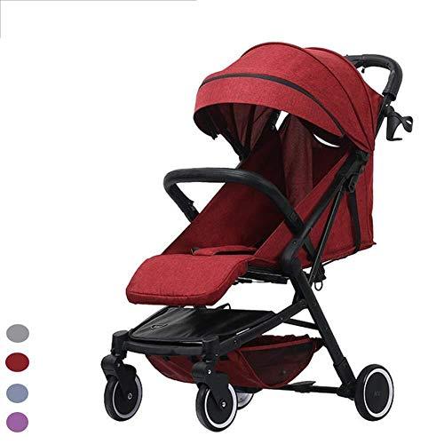 MAMINGBO Cochecito de bebé, cochecito plegable Sistema de cochecito de bebé ligero for viaje Cochecito de bebé Cuna Cochecito for recién nacidos y niños pequeños (Color : Rojo)