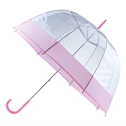 "All-Weather GFUMDP42 42"" Pink & Clear Dome Umbrella"