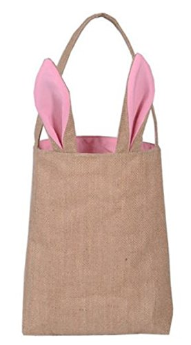 Easter Egg Hunt Basket Bag - Bunny Rabbit Ear Design - Reusable Grocery Shopping Baskets - Kids Party Gift Bags - Baby Shower & Book Storage - by Jolly Jon (Burlap/Pink Ears)