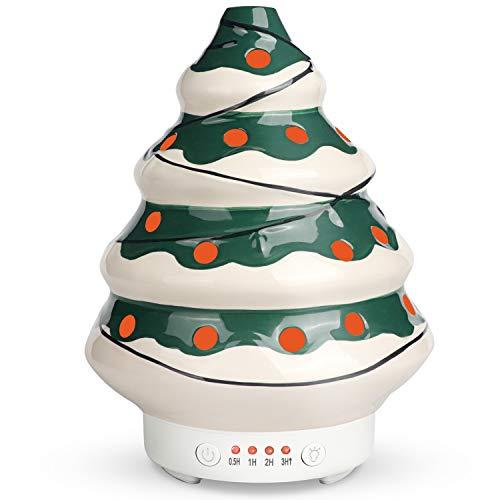 SALKING Weihnachtsbaum Aroma Diffuser, Keramik Aromatherapie Diffusor für ätherische Öle, 23 db BPA-Free Luftbefeuchter mit 7 Farbe Licht, Duftlampe für Zuhause Büro/Yoga,Geschenkideen für Kinder