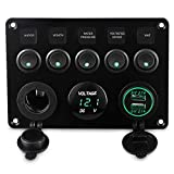 CT-CARID 5 Gang Toggle Switch Panel, Dual USB Socket Charger 12V Power Outlet LED Voltmeter for Car Boat Marine RV Truck Camper Vehicles (Green)