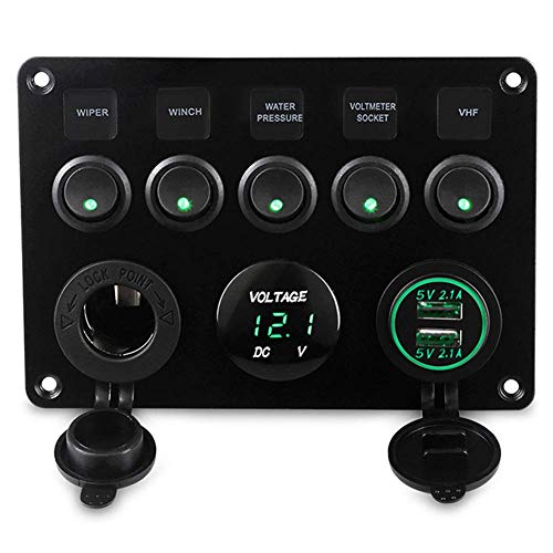 CT-CARID Panel de interruptor de 5 bandas, enchufe doble USB, cargador de 12 V, voltímetro LED para coche, barco, marina, caravana, campista, vehículos