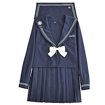 MIAOCOS Japanese School Girls JK Uniform Suit Sailor Pleated Skirt Seifuku Dress Navy Blue White Cosplay Costume
