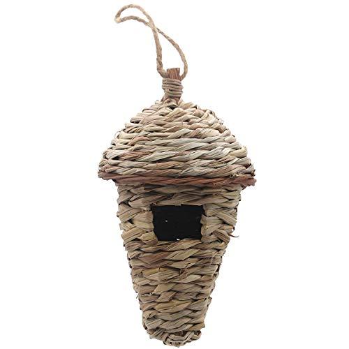 Casa de pájaros Liseng, casa para pájaros de invierno para colgar al aire libre, hierba tejida a mano, cabaña natural para pájaros al aire libre, pajarera para niños, casa de pájaros cantores (maíz)