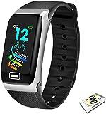Smart Watch Sport Smart Band Monitor de presión arterial Pulsera inteligente SmartWatch Pulsera para hombres y mujeres (Color: Plata Negro)-Plata Negro