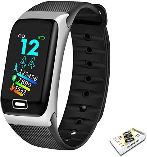 Reloj inteligente deportivo con monitor de presión arterial, pulsera inteligente para hombres y mujeres (color: dorado y negro), color plateado y negro