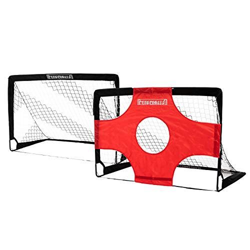 KRESHGOALS Fußballtor, 2 x Fussballtor mit Zielnetz | klappbares 2-in-1 pop up Fussball Tor | zusätzlich 10 extra Hütchen | 120x80x80cm