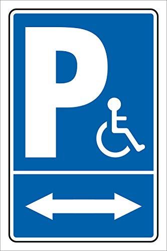 Schild Behinderten Parkplatz Rollstuhl Fahrer Park verbot 2 Pfeile Alu-Verbund 600 x 400 mm