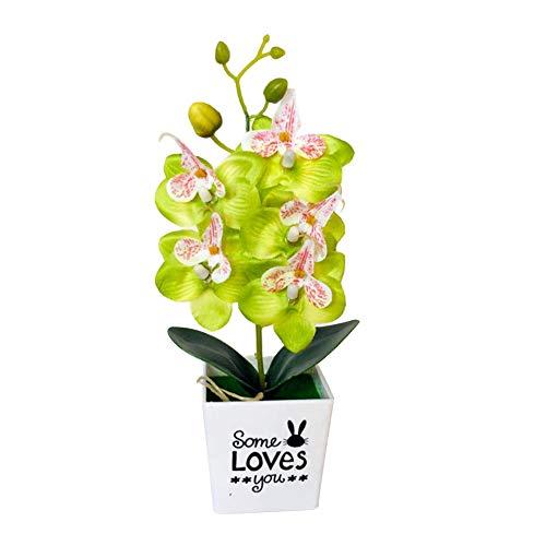 KingbeefLIU Fiore con Vaso Artificiale Farfalla Orchidea Bonsai Falso Arredamento per La Casa Verde