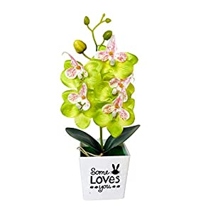 Eamoney Artificial Flowers Flocked Fake Plants, Butterfly Orchid Bonsai Fake Flower with Pot Home FurnitureDecoration Decoration – Green