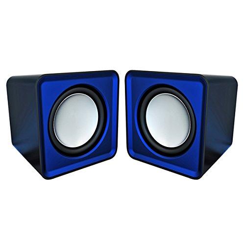 Omega OG01B - Altavoces 2.0, 6 W, con MiniJack y USB, color azul [Espa