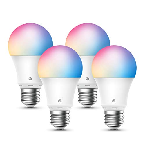 Kasa Smart Light Bulbs, Full Color Changing Dimmable Smart WiFi Bulbs Compatible with Alexa and Google Home, A19, 9W 800 Lumens,2.4Ghz only, No Hub Required, 4-Pack