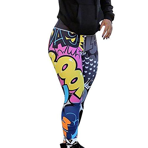 SHOBDW Mujer Pantalones de Yoga Estampado de Entrenamiento Correr Pantalones Capri Gimnasio Colores Flaco Estiramiento Cintura Alta Gimnasio Deportivo Pantalones Deportivos(Multicolor,S)