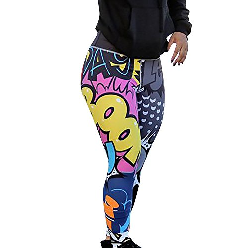 SHOBDW Mujer Pantalones de Yoga Estampado de Entrenamiento Correr Pantalones Capri Gimnasio Colores Flaco Estiramiento Cintura Alta Gimnasio Deportivo Pantalones Deportivos(Multicolor,XL)