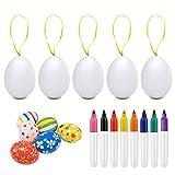 Colmanda huevos de pascua decorados, 50 huevos de pascua coloridos de plástico, manualidades de bricolaje de pascua que pintan para la decoración, huevos de pascua juguetes favores de partido (blanco)