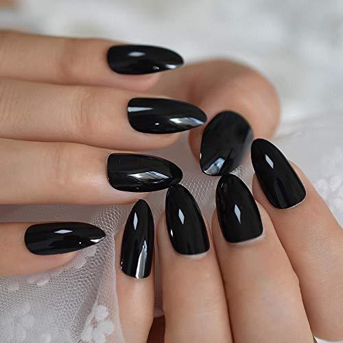 CLOAAE Black Nails Full Cover Shiny Solid Color Full False Nails Wholesale Half Pressed Finger Nails 24 Ct