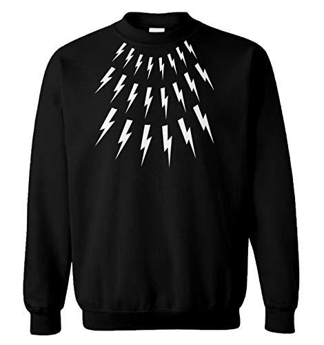 Lightning Bolts - David Rose Sweater Parody Unisex Crewneck Sweatshirt (Black, Large)