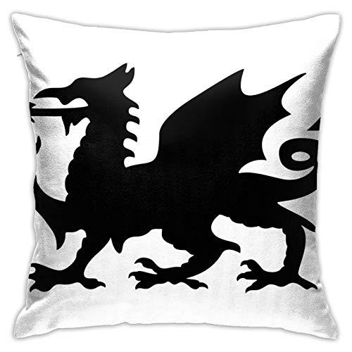 Funda de almohada cuadrada decorativa suave con bridas y diseño de dragón rojo galés para salón, sofá, dormitorio, con cremallera invisible, 45,7 x 45,7 cm