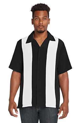 9 Crowns Men's Retro Bowling Bahama Camp Button-Down Shirt-Black/White-Small