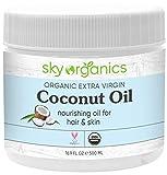 Organic Extra Virgin Coconut Oil by Sky Organics (16.9 oz) USDA Organic Coconut Oil Cold-Pressed...