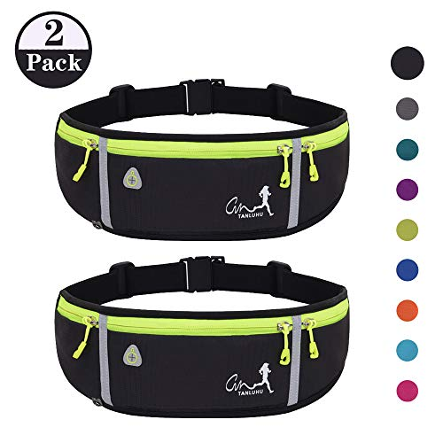 JAPI Running Belt,Water Resistant Runners Belt Fanny Pack for Women Men, Waist Bag for Hiking Fitness Travel – Adjustable Running Pouch Belt Fits Phones iPhone 11 pro max Xs x 6 7 8 Plus Samsung S10…