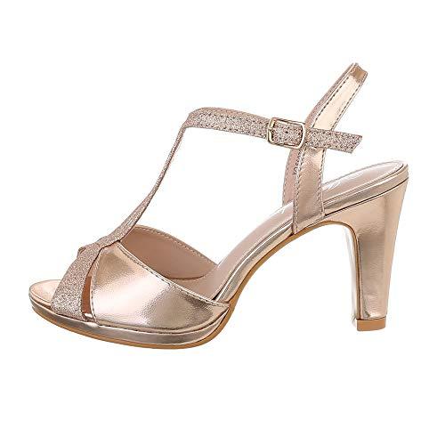 Ital-Design - Sandali da Donna con Tacco Alto, Oro (Oro Rosa), 39 EU
