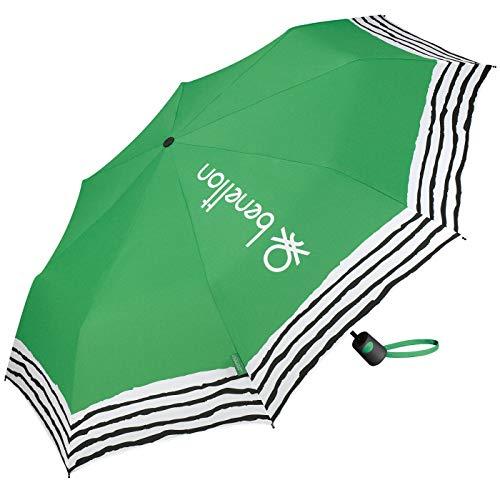 Paraguas Plegable Benetton Automático Antiviento Estampado Crinkle Stripes Verde