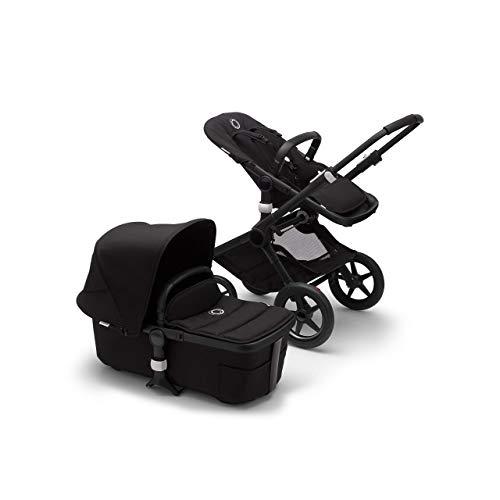 Bugaboo Fox 2 Kinderwagen – Zusammenklappbarer Babywagen mit vielfältigen Fächern & Guckloch im Sonnenverdeck – Von der Geburt bis zum Kleinkindalter – in Schwarz