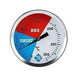 GIMOCOOL Termómetro de acero inoxidable para barbacoa, hasta 300 °C, fácil instalación para barbacoas de carbón, parrillas, hornos, accesorios de barbacoa