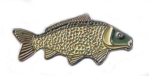 Anstecknadel aus Metall, Brosche, emailliertes Metall, Fisch, Karpfen, Angeln