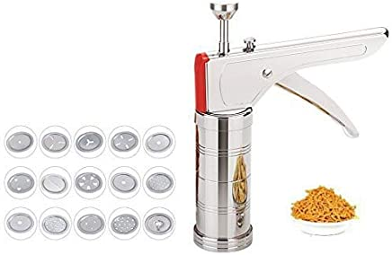SHOPPOWORLD Stainless Steel Kitchen Press for Noodles and Snacks Sev Grater Cookies Maker with 15 Interchangeable Blades (Silver)