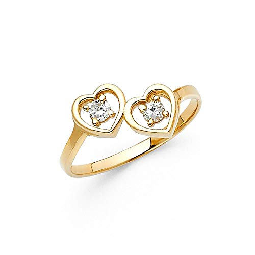 14ct Yellow Gold Love Heart CZ Cubic Zirconia Simulated Diamond Ring Size N 1/2 Jewelry Gifts for Women