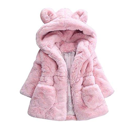 Longra Baby Kinder Mädchen Winterjacke Wintermantel Steppmantel Steppjacke mit Ohr Kapuze Kinder Jacken Kaninchen Prinzessin Warm Winterparka Übergangsjacke Outwear(0-4Jahre) (110CM 3Jahre, Pink)