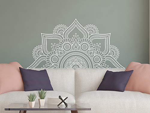Ajcwhml Half Mandala Wall Decal Bedroom Bedside Vinyl Sticker Living Room Decoration Flower Wall Sticker Sofa Background