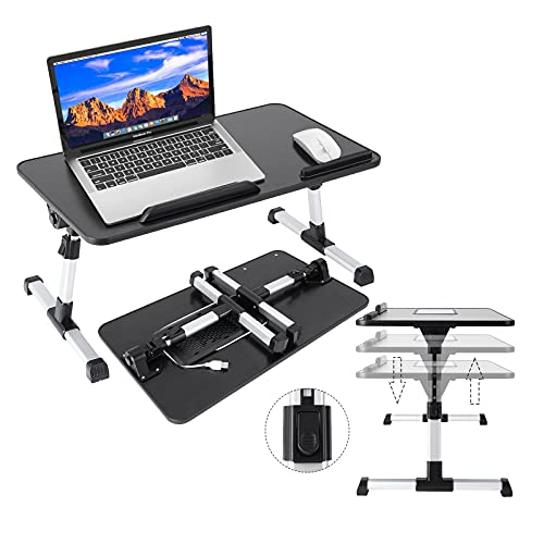 Lapdesks - Laptop Computer Stands, Foldable Laptop Holder, Laptop Tray for Bed, Adjustable Computer Stand with Heat-Vent, Portable Aluminum Multi-Angle Notebook Stand (10-17.3 inches) (Black)