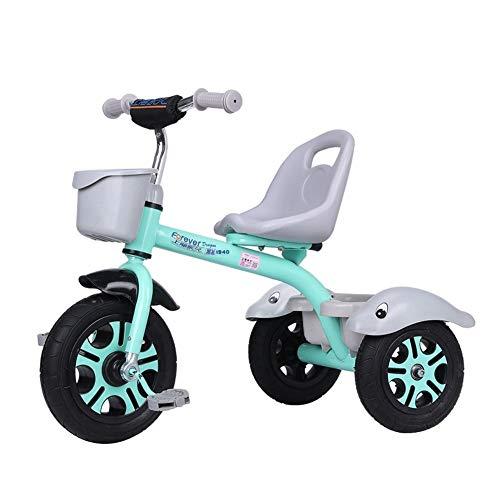 WENJIE Presente De Coches De Juguete 1-3-6 Años Triciclo Cumpleaños Balance De Bicicletas Cochecito De Bebé del Niño del Triciclo Ligero De Asiento Portátil For Niños (Color : Green)
