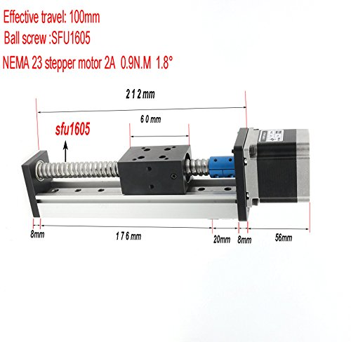 100mm lenght Linear Guide Slide Table Ball Screw Motion Rail CNC Linear Guide Actuator Stage Motorized Nema 23 Stepper Motor
