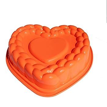 X-Haibei Flexible Large Heart Gelatin Cake Baking Pan Silicone Mousse Mold Party Maker