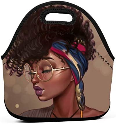 Afro African Women Lady Neoprene Lunch Bag Insulated Lunch Box Tote for Women Men Adult Kids product image